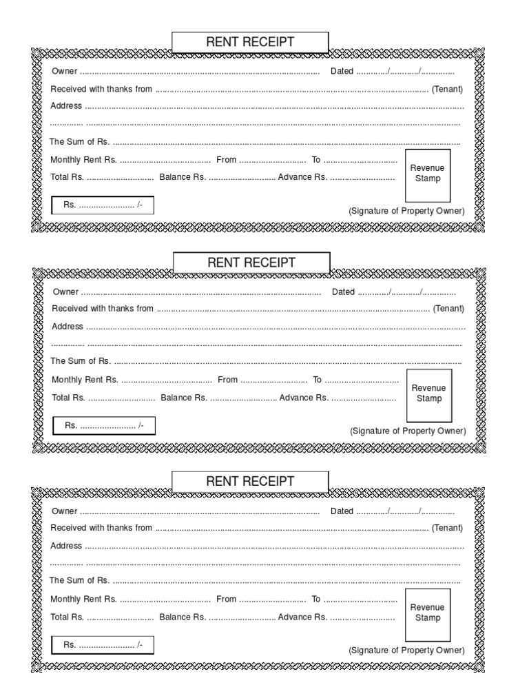 Rent Receipt – House Rent Receipts Format