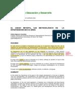 EL JUEGO INFANTIL, EJE METODOLÓGICO DE LA INTERVENCIÓN EN 0-6 AÑOS
