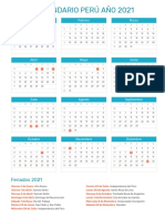 Calendario Peru 2021