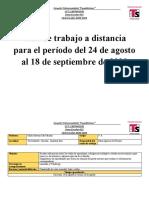 Plan de trabajo del 24 de agosto al 18 de septiembre de 2020