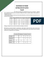 TALLER DE DISTRIBUCION DE PLANTAS  DISPOSICIÓN POR PRODUCTO