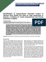Quantification of Organochlorine Pesticides Content of Okumesi River Ebedei Uno Delta for Cage Aquaculture in Schools