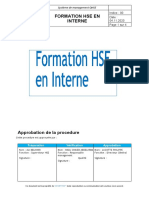 Procedure De Formation HSE En Interne