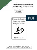 Pentecost 23 Nov. 8, 2020
