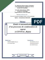 Etude et automatisation d'un processus de condensation de vapeur à CEVITAL-Béjaia.