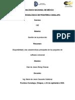 Resumen disponibilidad y las características principales de los paquetes de software comercial