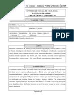 Plano de Ensino Ciência Política Direito 1o semestre 2019