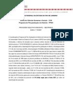 UNIRIO - Historia - Edital Mestrado - 2021
