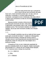 Relato sobre As Fontes ou Proveniências do Som - Lucas Oliveira Soares