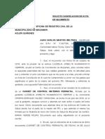 SOLICITO CANCELACION DE ACTA DE NACIMIENTO