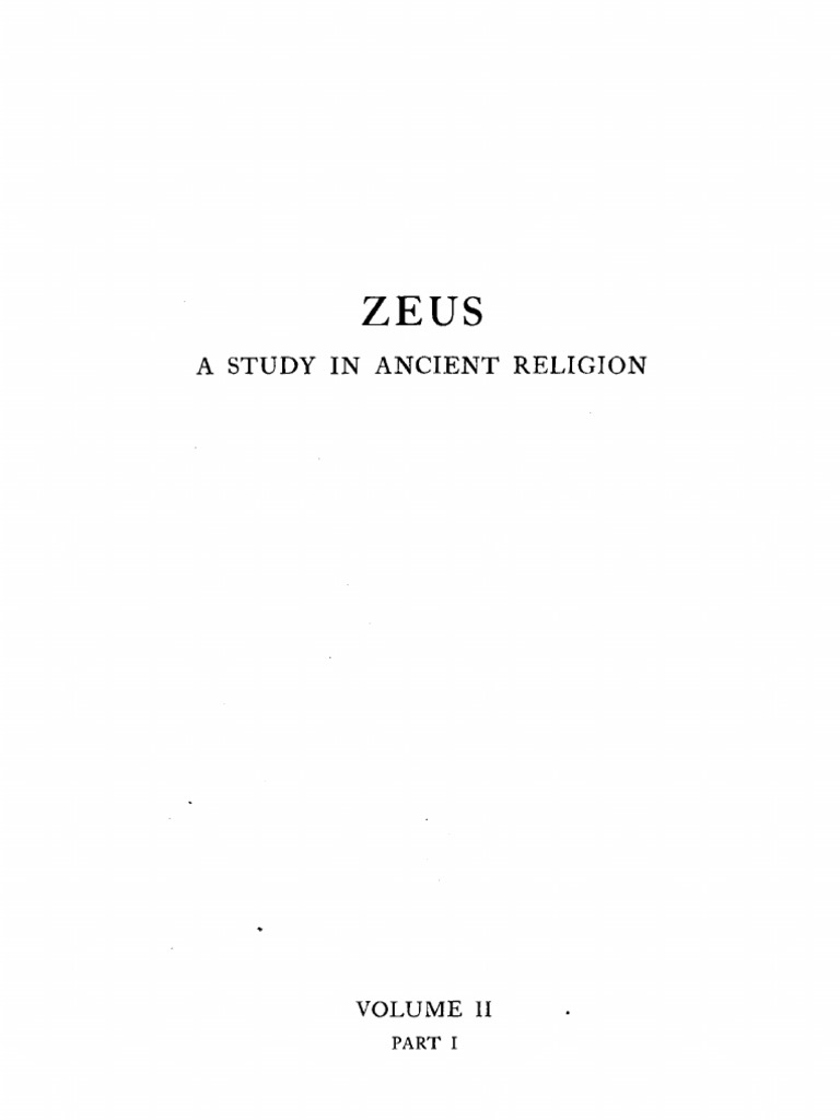 Zeus A Study in Ancient Religion Vol II Part I Cook
