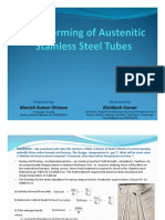 Cold Forming and heat treatment requirement of Austenitic Stainless Steel Tubes.