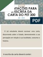 Orientações para a escrita da Carta do PET 2 - PROFESSORES