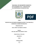 PROYECTO DE UN CENTRO DE ARTE Y CULTURA EN LA CIUDAD DE LA BANDA DE SHILCAYO