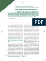 Les conditions de la croissance verte - Alain Grandjean