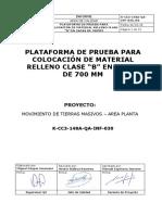 K-CC3-148A-QA-INF-030-R0 Inf Panel Test relleno clase B Rodillo 20 tn