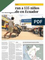 Encuentran a 135 niños trabajando en Ecuador