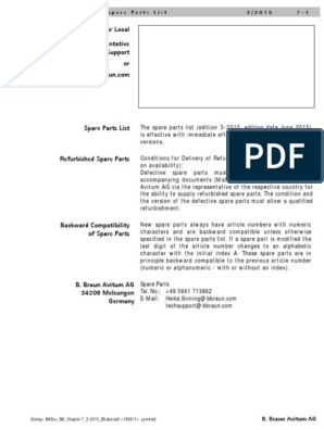 Dialog+ SW9.xx Service Manual, Chapter 7 Spare Parts, Edition 3-2015  (English) | Electrostatic Discharge | PhysicsScribd