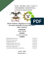Investigación Formativa - Efectos positivos y negativos en el Agua, dentro del Espacio Geográfico del Perú - Química Ambiental