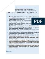 BENEFITS OF PHYSICAL ACTIVITY FOR MENTAL HEALTH