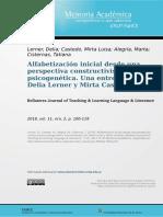 Alfabetización inicial desde una perspectiva constructivista psicogenética