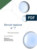 DM 7 Thermodynamique