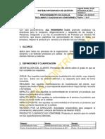 JCL-02-DI-01 PROCEDIMIENTO QUEJAS Y RECLAMOS PRODUCTOS NO CONFORMES