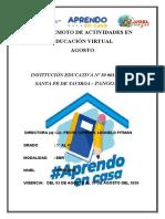 PLANIFICADOR  REMOTO MES DE AGOSTO  I.E. N° 64426 DE UNION PIOTA