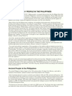 ARRIVAL OF MALAY PEOPLE IN THE PHILIPPINES