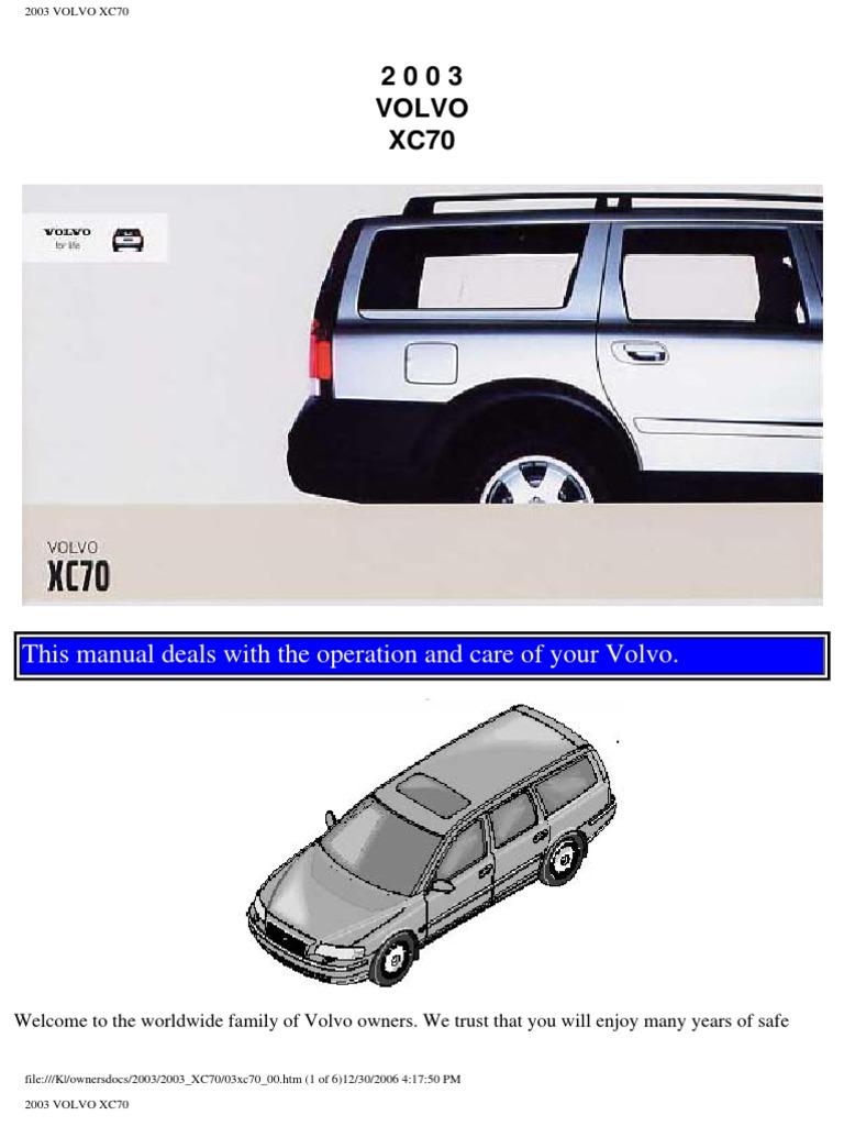 volvo xc70 2003 user manual airbag seat belt rh scribd com 2007 Volvo S60 R 2005 Volvo V70