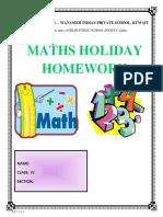 Class 4-MATHS Asssignment - Holiday HW-Answer Key