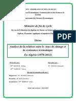 Analyse de la relation entre le  taux de change et la croissance économique en Algérie (1970-2012)