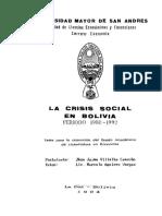 crisis social en Bolivia