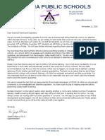 Ansonia Nov. 11 School District Letter