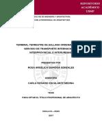 TERMINAL TERRESTRE DE SULLANA ORDENAMIENTO DEL SERVICIO DE TRANSPORTE INTERNACIONAL, INTERPROVINCIAL E INTERURBANO ROSA ANGÉLICA QUIROGA GONZALES