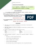 Guía de actividades 4° año Básico (sustantivos, adjetivos y verbos)