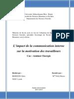 L_impact de la communication interne sur la motivation des travailleurs