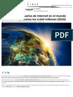 El número de usuarios de Internet en el mundo crece un 7% y alcanza los 4.540 millones (2020)