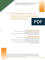 Uma contribuição ao estudo da liderança sob a ótica weberiana (M. Weber) de dominação carismática