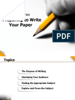 Preparing to Write Your Paper