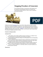 Starting and Stopping Procdure of Generator