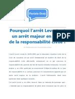 Pourquoi l'Arrêt Levert Est Un Arrêt Majeur en Droit de La Responsabilité Civile