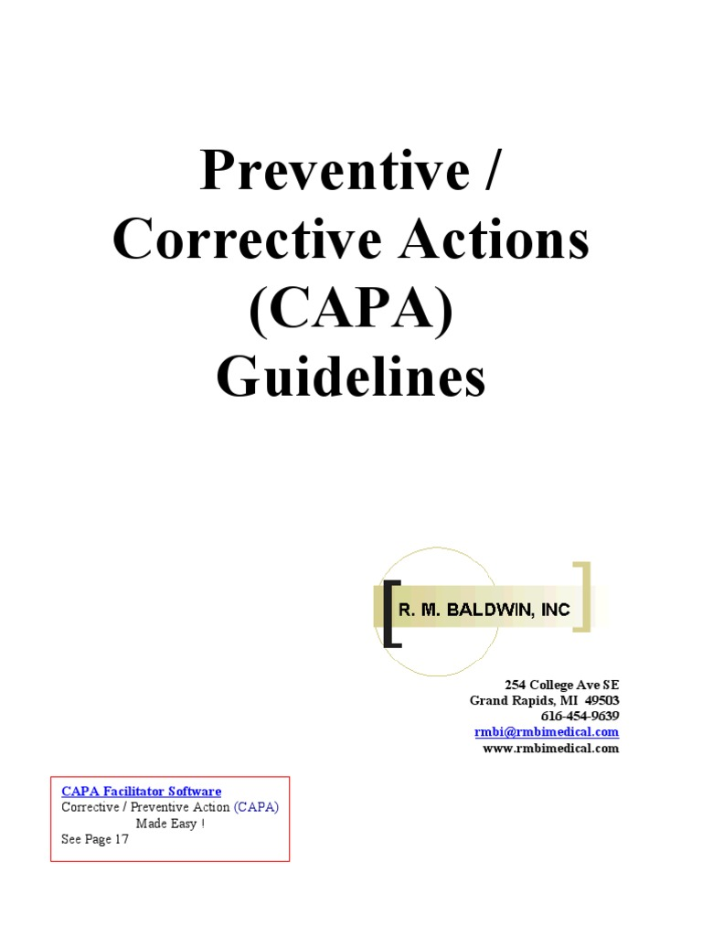 capa guidelines production and manufacturing quality rh scribd com Capa Corrective and Preventive Actions Preventive Action Request Form