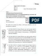 Carta notarial de Telesup a la Sunedu