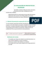 1.5. MÉTODOS EVALUACIÓN DE PROYECTOS DE INVERSIÓN