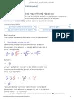 Racionalizar radicales. Ejercicios resueltos de racionalizar.pdf