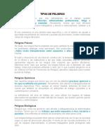 ACTIVIDAD # 2 TIPOS DE PELIGROS