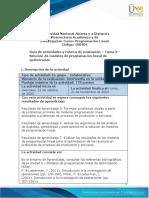 PROGRAMACION LINEAL Guia de actividades y Rúbrica de evaluación - Tarea 3 - Solución de modelos de programación lineal de optimización