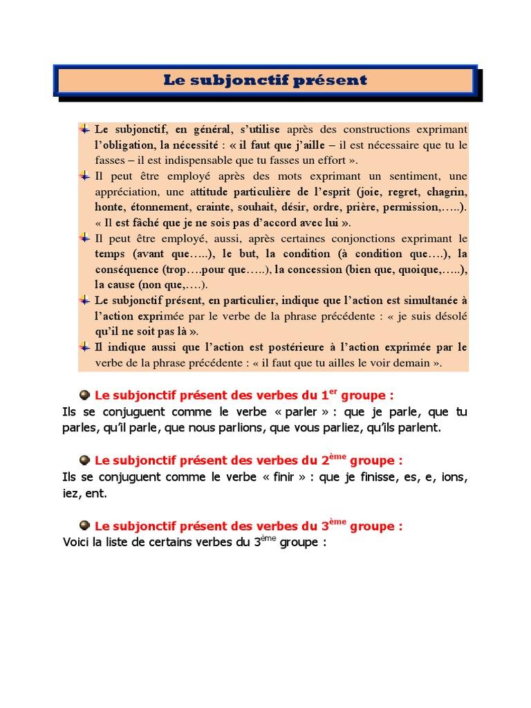 15 Le Subjonctif Present Verbe Phrase