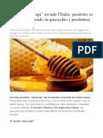 Miele senza api invade l'Italia prodotto in Cina